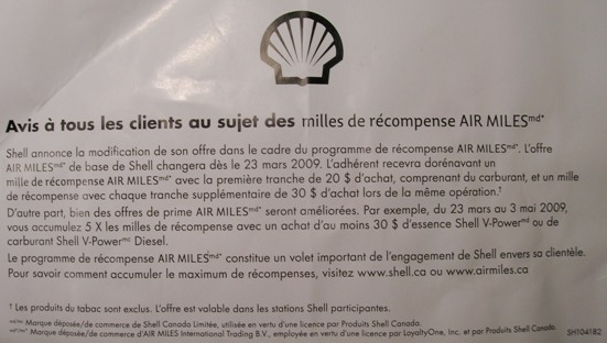 Shell annonce Airmiles 23 mars 2009